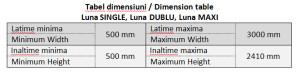 Tabel dimensiuni - Luna